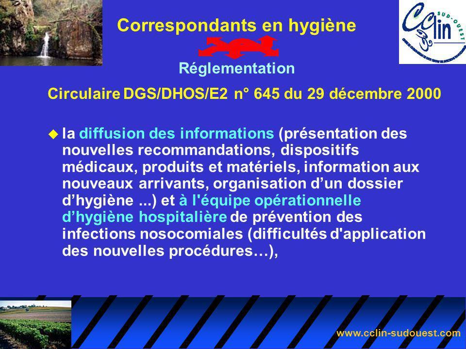 Circulaire DGS/DHOS/E2 n° 645 du 29 décembre 2000