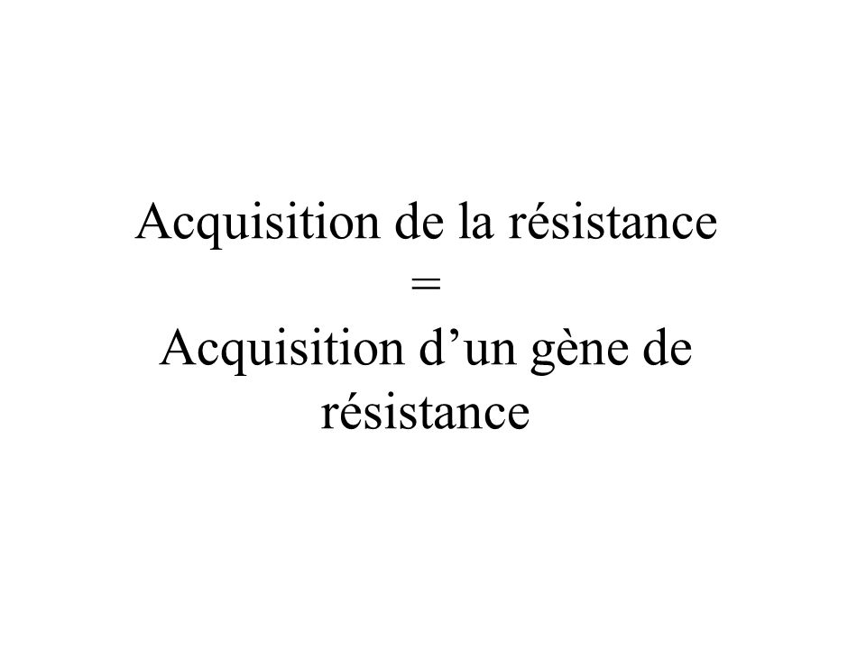Acquisition de la résistance = Acquisition d'un gène de résistance