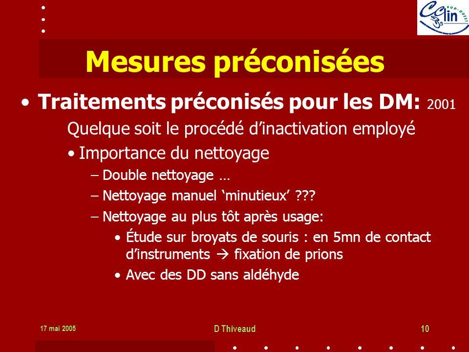 Mesures préconisées Traitements préconisés pour les DM: 2001