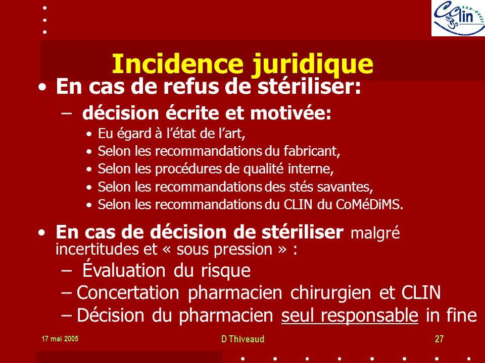 Incidence juridique En cas de refus de stériliser: