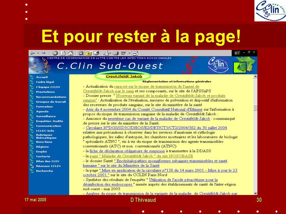 Et pour rester à la page! 17 mai 2005 D Thiveaud
