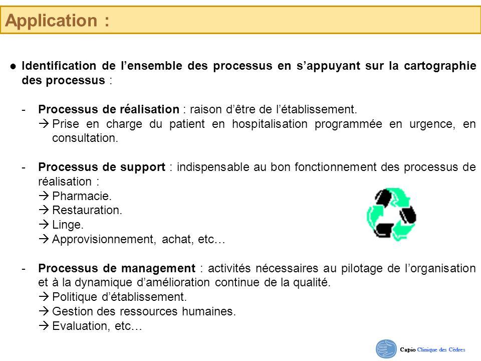 Application :  Identification de l'ensemble des processus en s'appuyant sur la cartographie des processus :