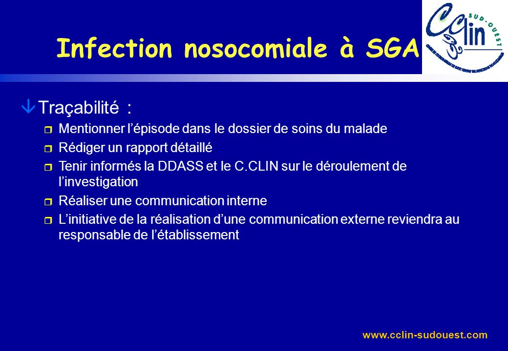 Infection nosocomiale à SGA