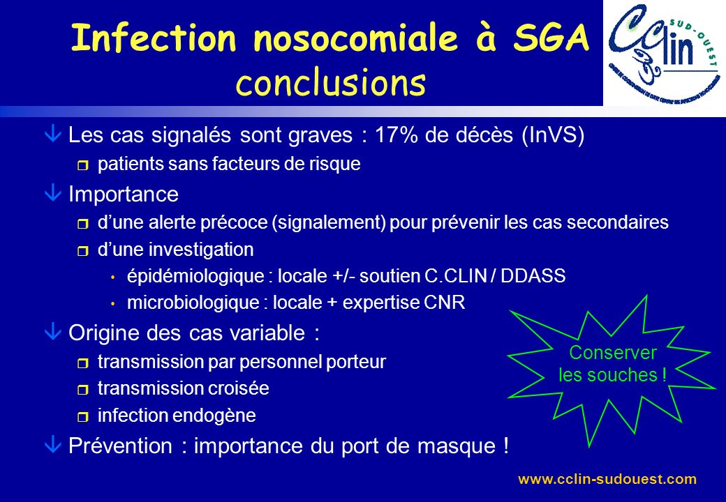 Infection nosocomiale à SGA conclusions