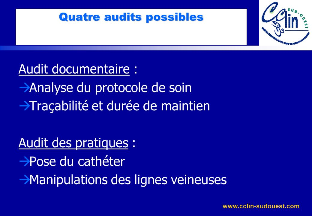 Quatre audits possibles