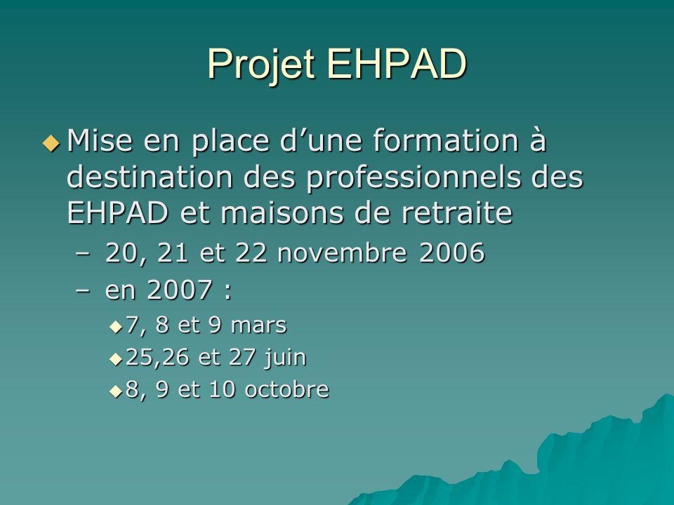 Projet EHPAD Mise en place d'une formation à destination des professionnels des EHPAD et maisons de retraite.