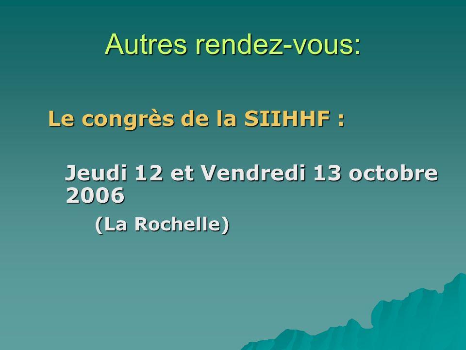 Autres rendez-vous: Le congrès de la SIIHHF :