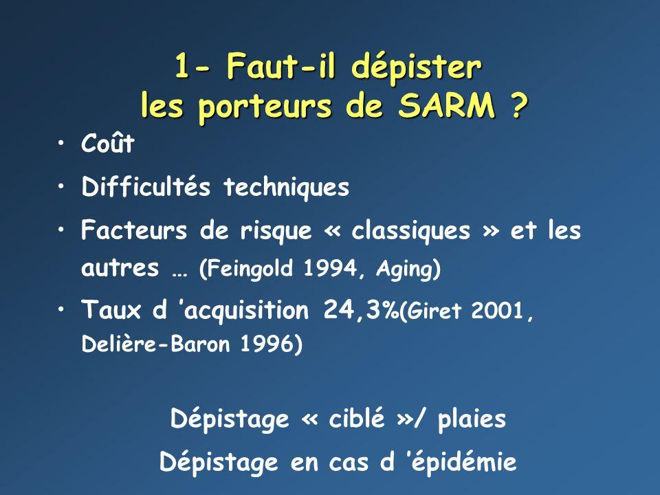 1- Faut-il dépister les porteurs de SARM