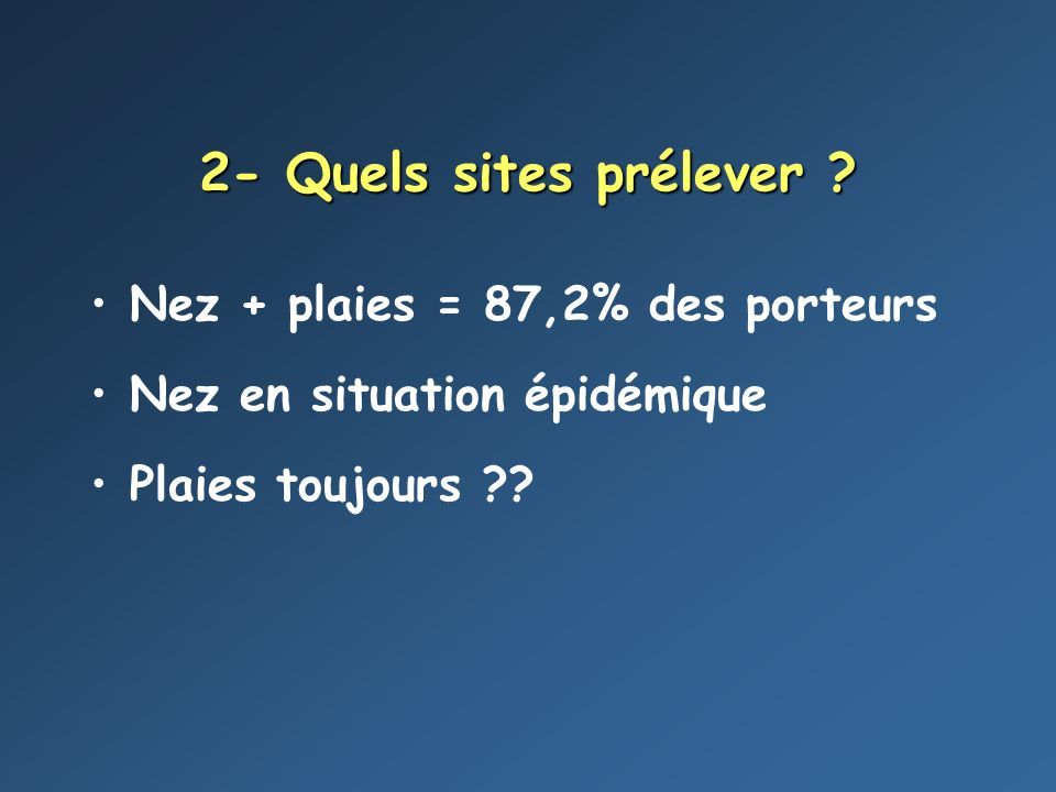 2- Quels sites prélever Nez + plaies = 87,2% des porteurs