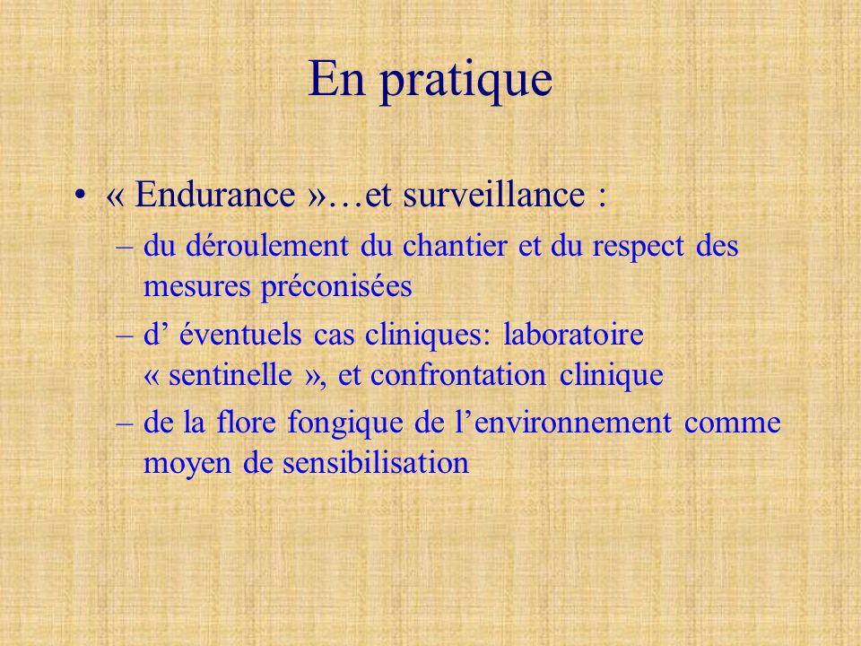 En pratique « Endurance »…et surveillance :