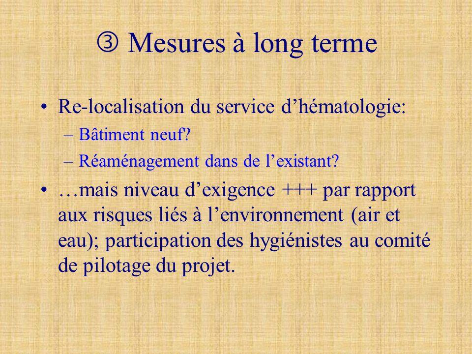  Mesures à long terme Re-localisation du service d'hématologie: