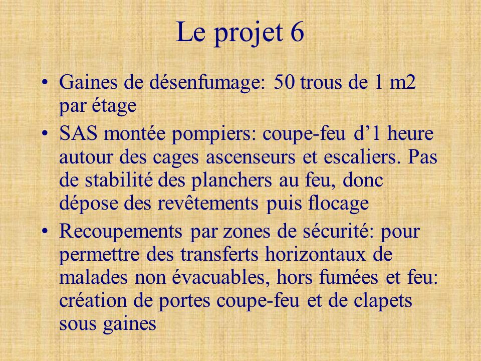 Le projet 6 Gaines de désenfumage: 50 trous de 1 m2 par étage