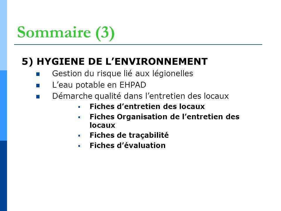Sommaire (3) 5) HYGIENE DE L'ENVIRONNEMENT