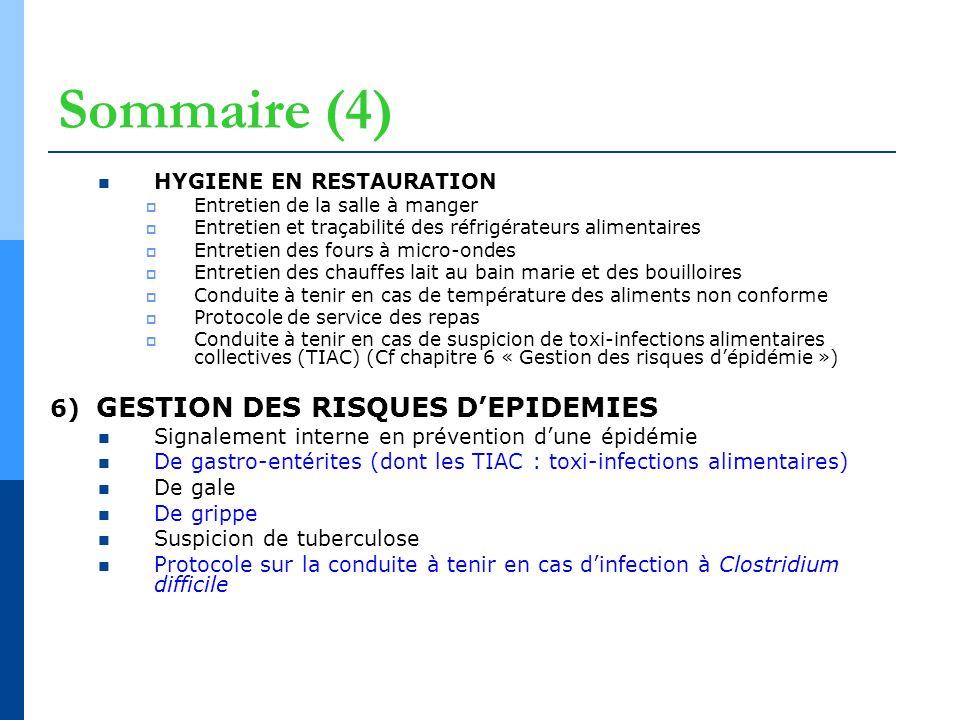 Sommaire (4) 6) GESTION DES RISQUES D'EPIDEMIES