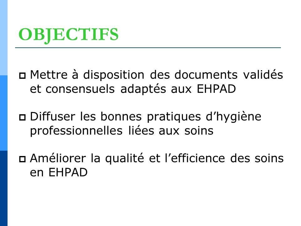 OBJECTIFS Mettre à disposition des documents validés et consensuels adaptés aux EHPAD.