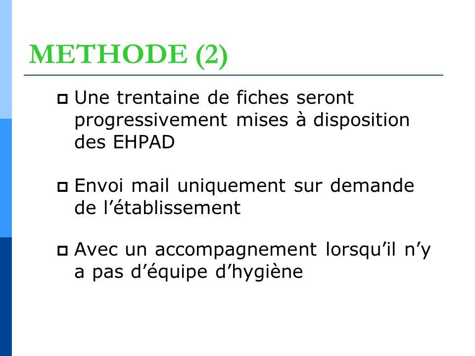METHODE (2) Une trentaine de fiches seront progressivement mises à disposition des EHPAD. Envoi mail uniquement sur demande de l'établissement.