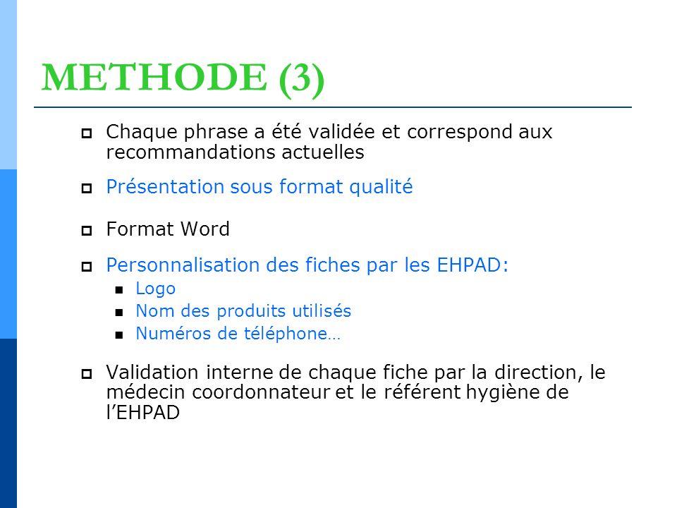 METHODE (3) Chaque phrase a été validée et correspond aux recommandations actuelles. Présentation sous format qualité.