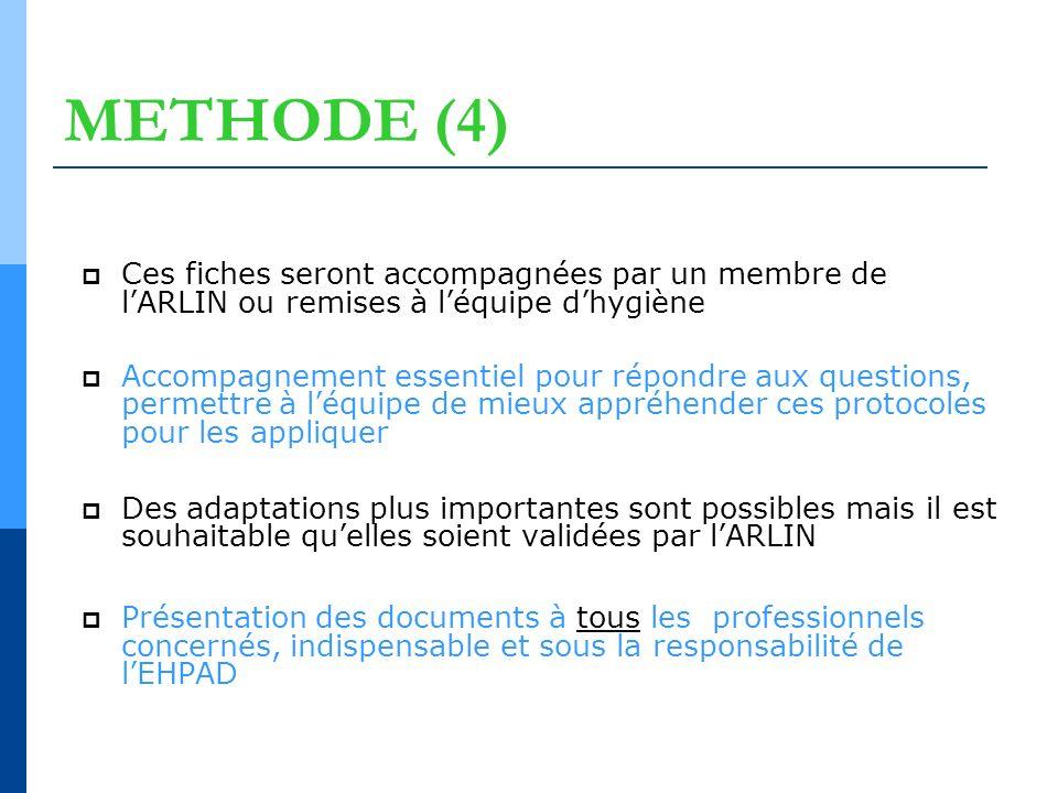 METHODE (4) Ces fiches seront accompagnées par un membre de l'ARLIN ou remises à l'équipe d'hygiène.