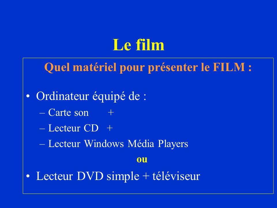 Quel matériel pour présenter le FILM :