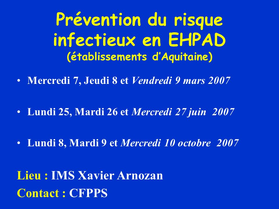 Prévention du risque infectieux en EHPAD (établissements d'Aquitaine)