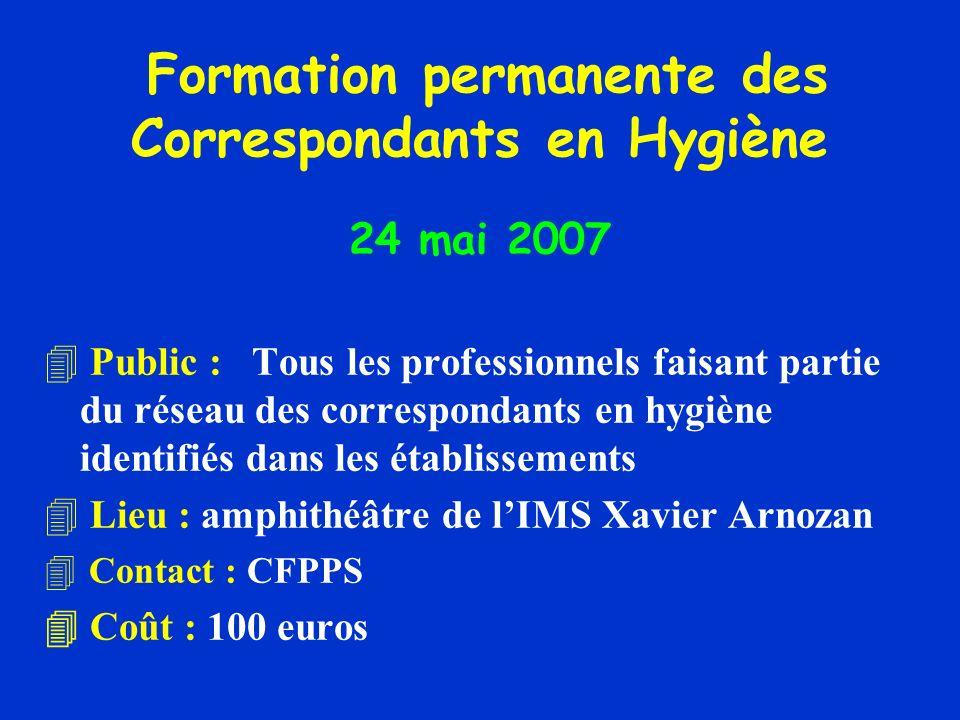 Formation permanente des Correspondants en Hygiène