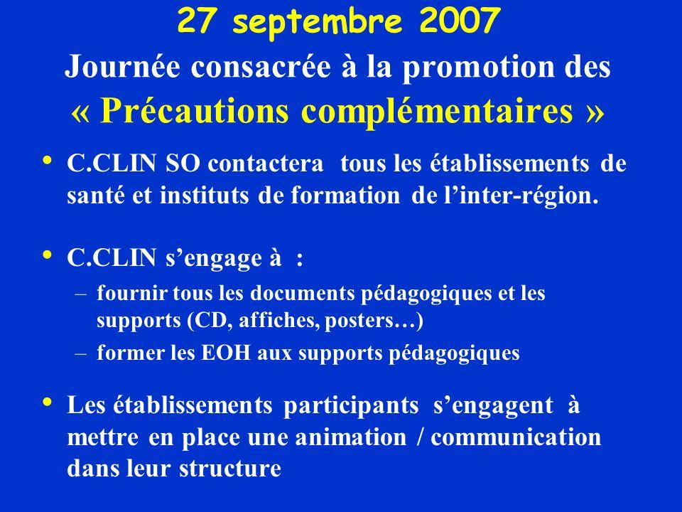 27 septembre 2007 Journée consacrée à la promotion des « Précautions complémentaires »