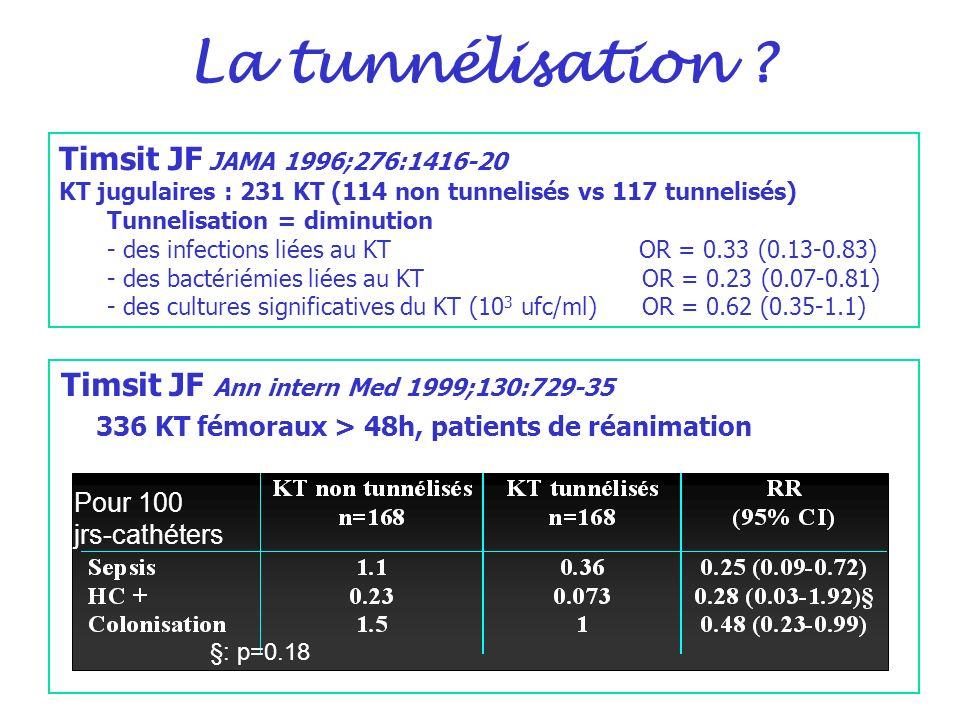 La tunnélisation Timsit JF JAMA 1996;276:1416-20