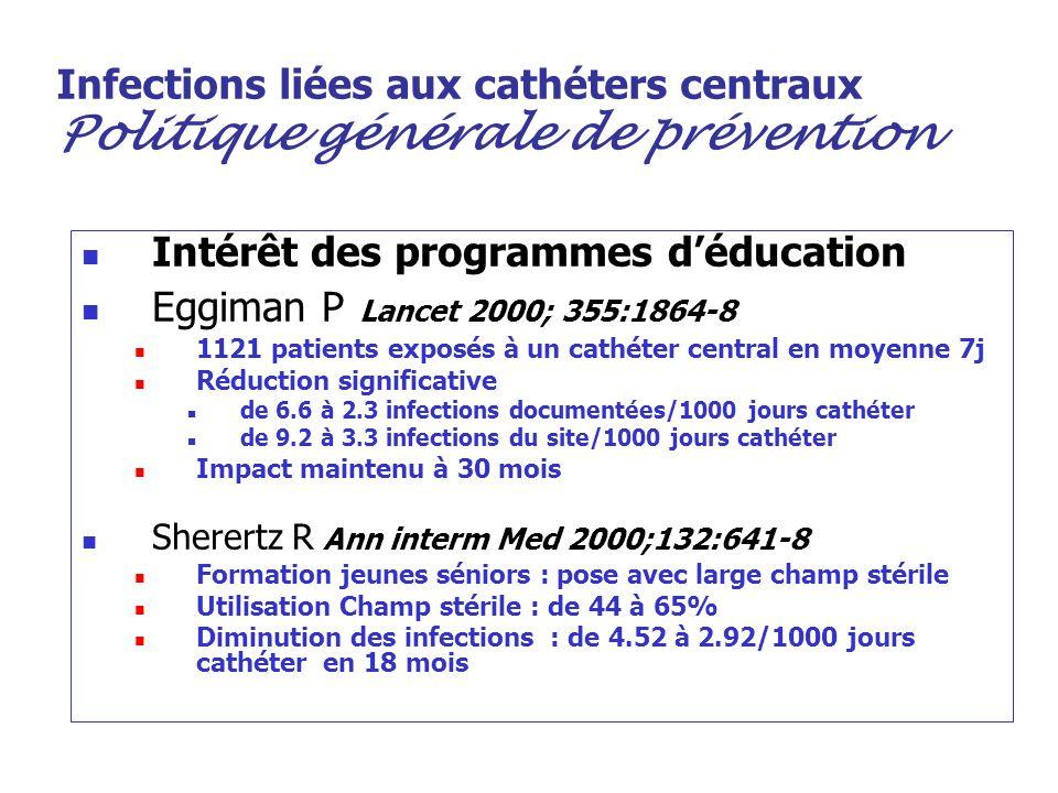 Intérêt des programmes d'éducation Eggiman P Lancet 2000; 355:1864-8