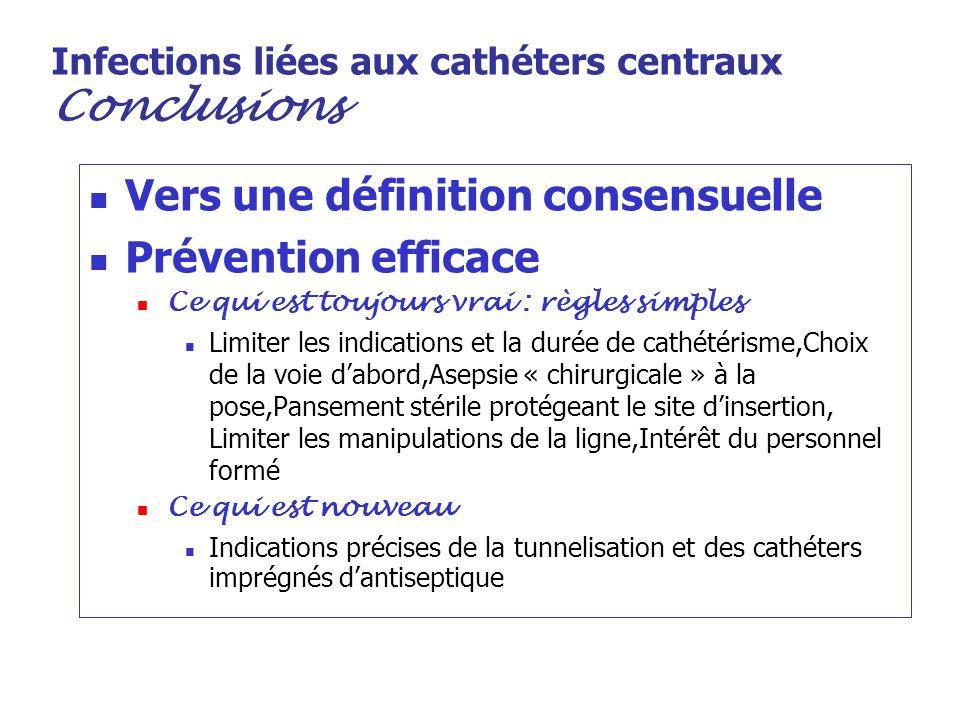 Infections liées aux cathéters centraux Conclusions