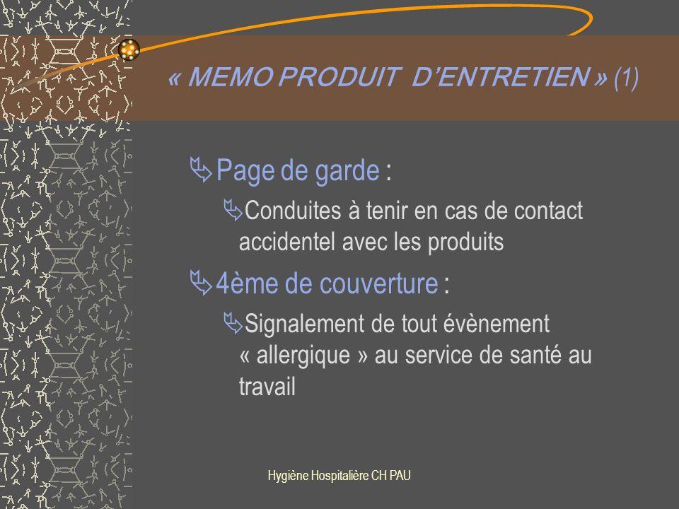 « MEMO PRODUIT D'ENTRETIEN » (1)