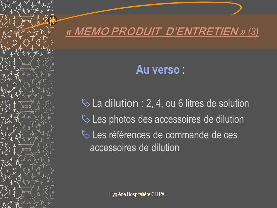 « MEMO PRODUIT D'ENTRETIEN » (3)
