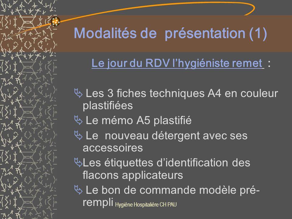 Modalités de présentation (1)