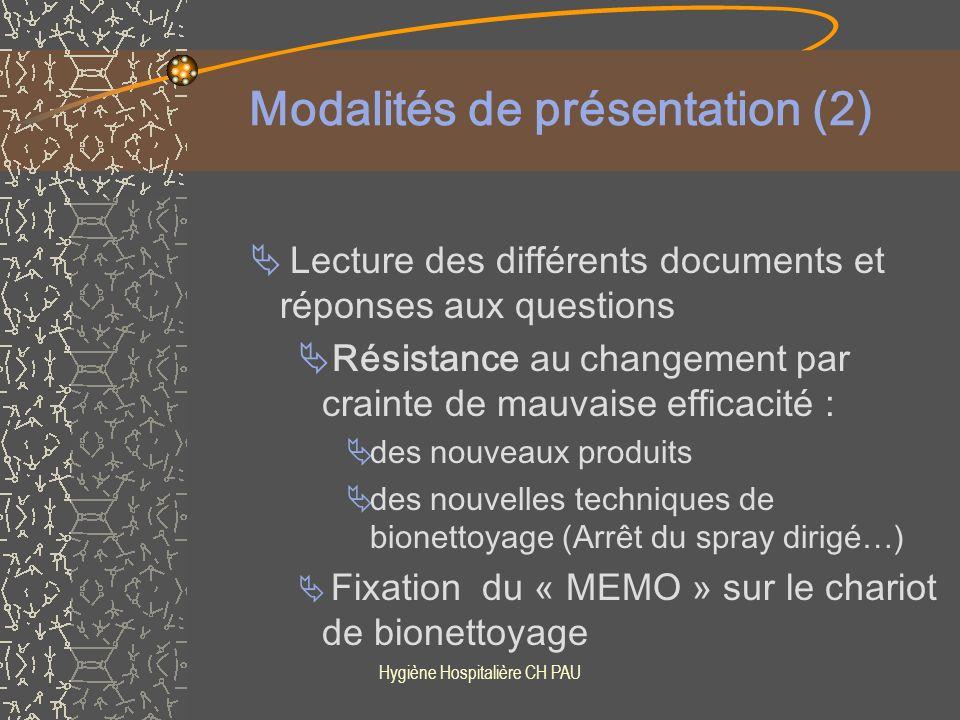 Modalités de présentation (2)