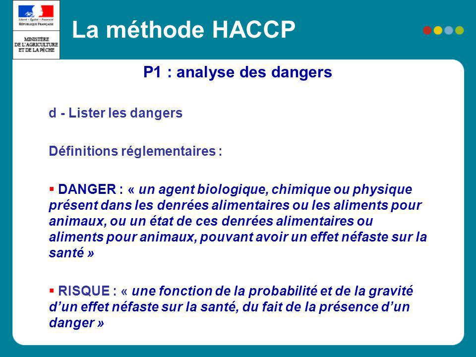 La méthode HACCP P1 : analyse des dangers d - Lister les dangers