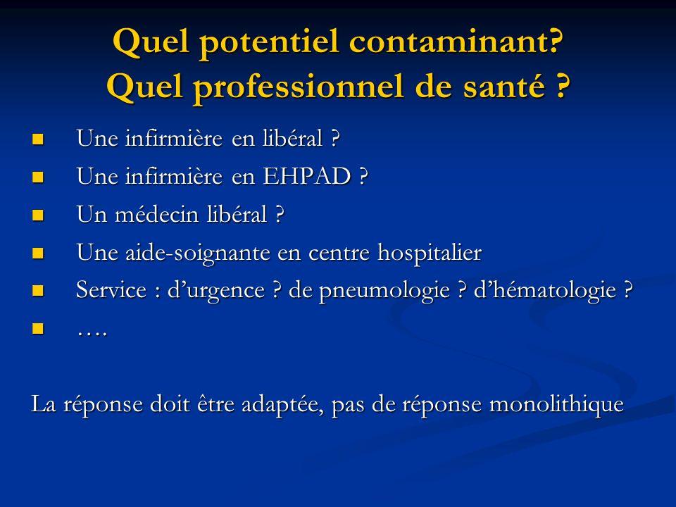 Quel potentiel contaminant Quel professionnel de santé