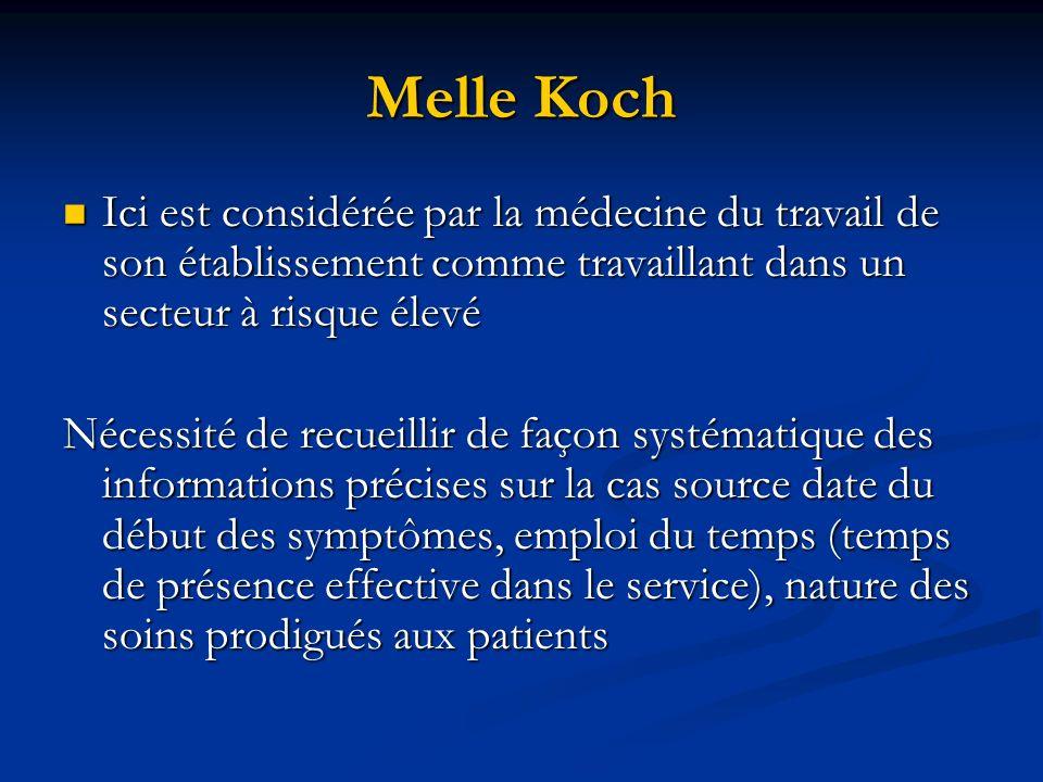 Melle Koch Ici est considérée par la médecine du travail de son établissement comme travaillant dans un secteur à risque élevé.