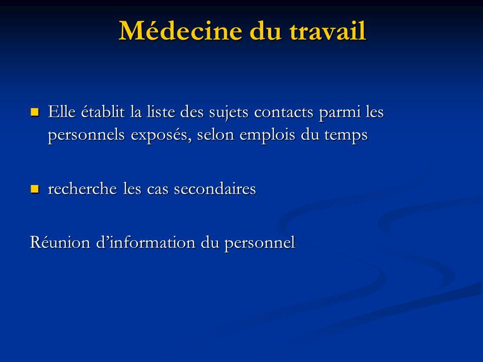 Médecine du travail Elle établit la liste des sujets contacts parmi les personnels exposés, selon emplois du temps.
