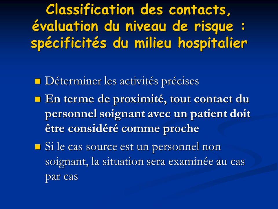 Classification des contacts, évaluation du niveau de risque : spécificités du milieu hospitalier