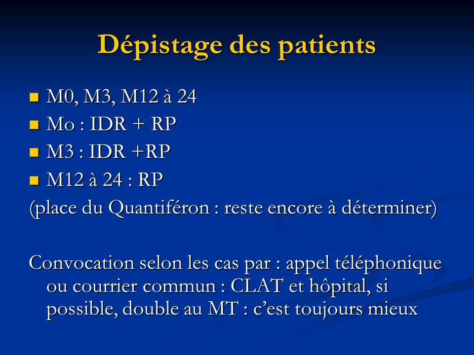 Dépistage des patients