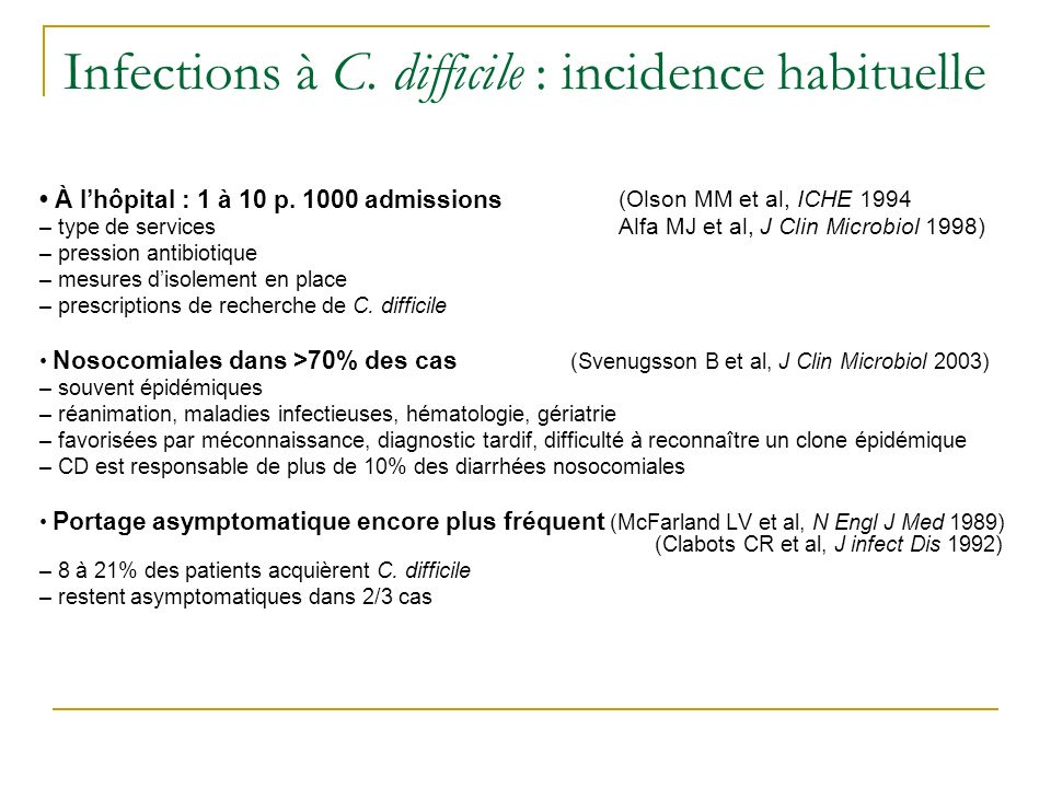 Infections à C. difficile : incidence habituelle