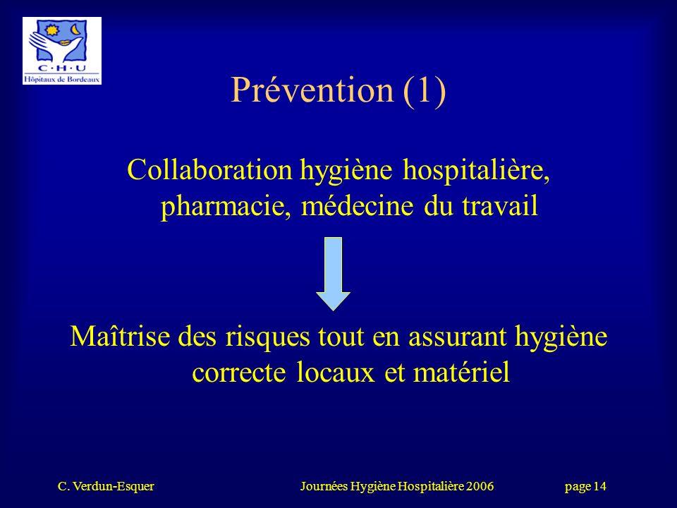 Collaboration hygiène hospitalière, pharmacie, médecine du travail
