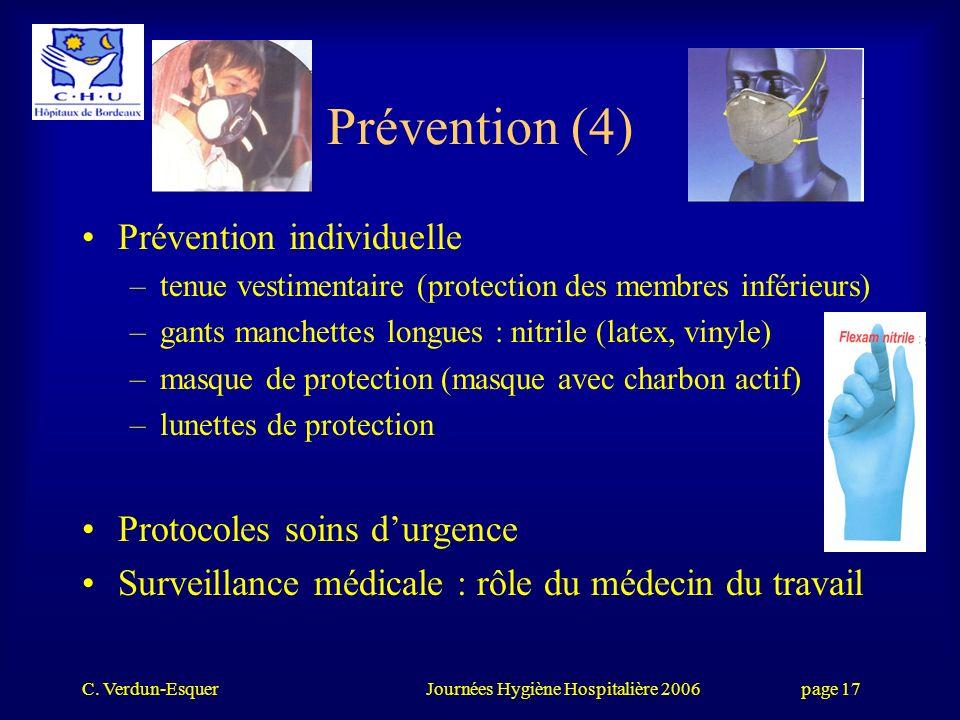 Prévention (4) Prévention individuelle Protocoles soins d'urgence
