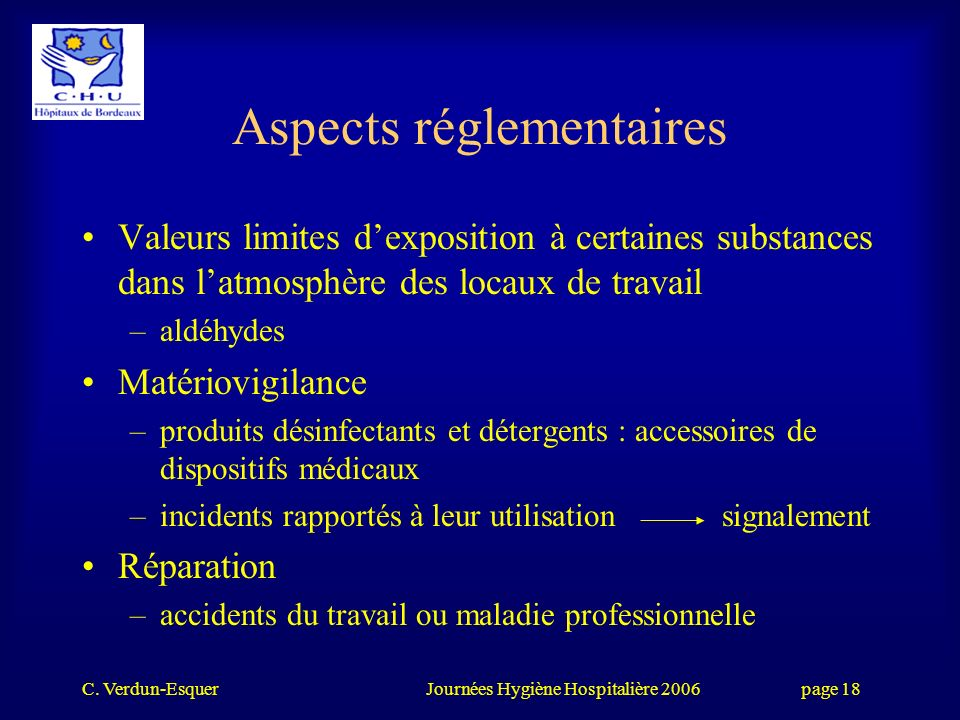 Aspects réglementaires
