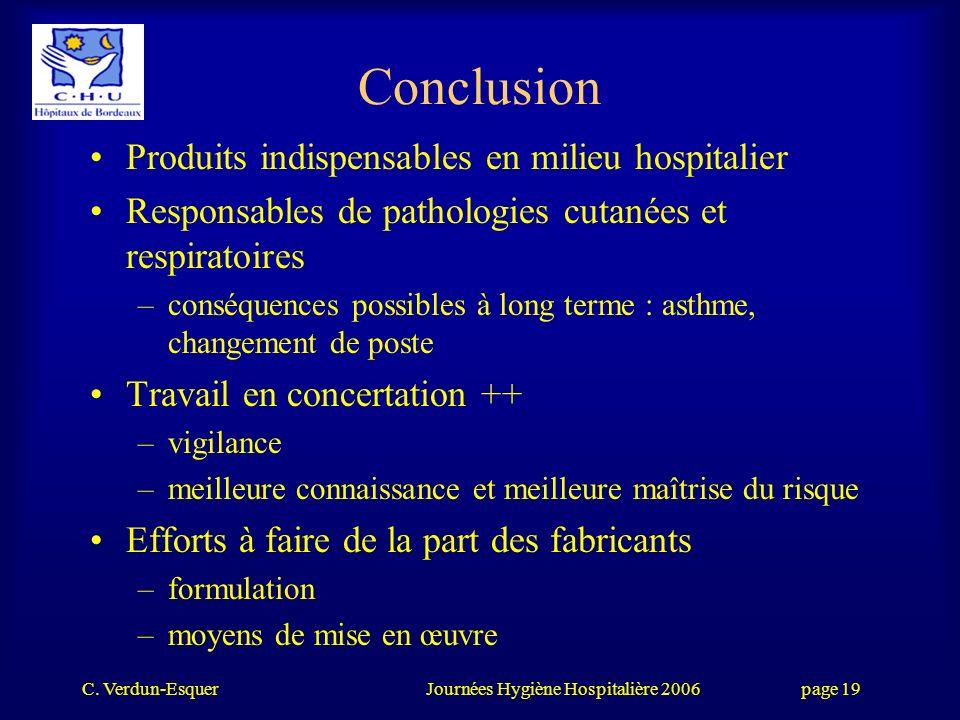 Conclusion Produits indispensables en milieu hospitalier
