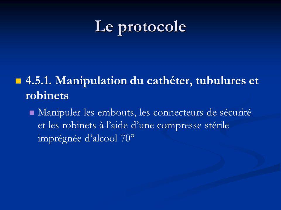 Le protocole 4.5.1. Manipulation du cathéter, tubulures et robinets