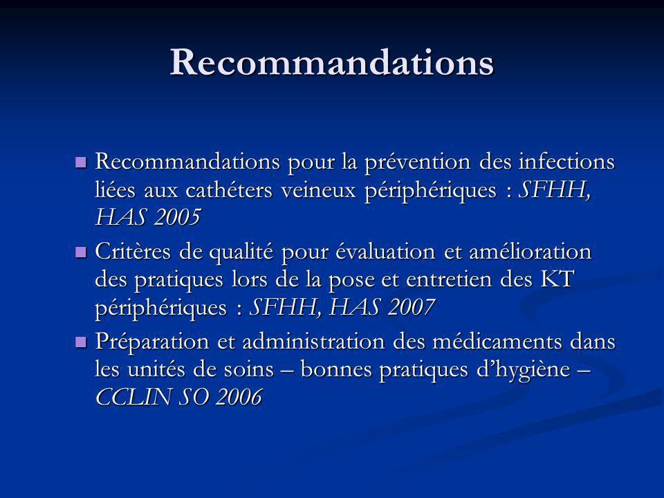 Recommandations Recommandations pour la prévention des infections liées aux cathéters veineux périphériques : SFHH, HAS 2005.