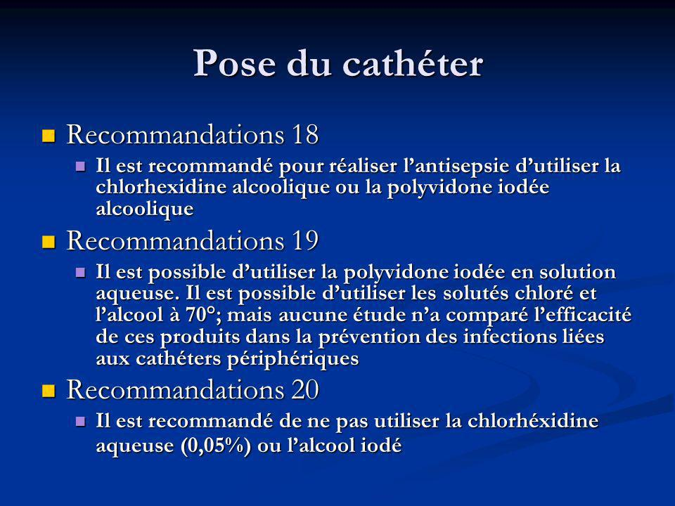 Pose du cathéter Recommandations 18 Recommandations 19