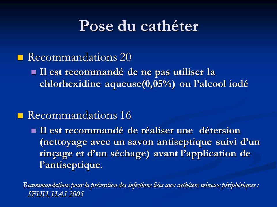 Pose du cathéter Recommandations 20 Recommandations 16