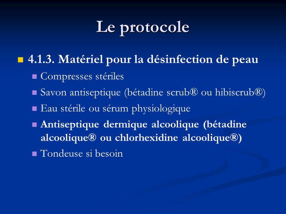 Le protocole 4.1.3. Matériel pour la désinfection de peau