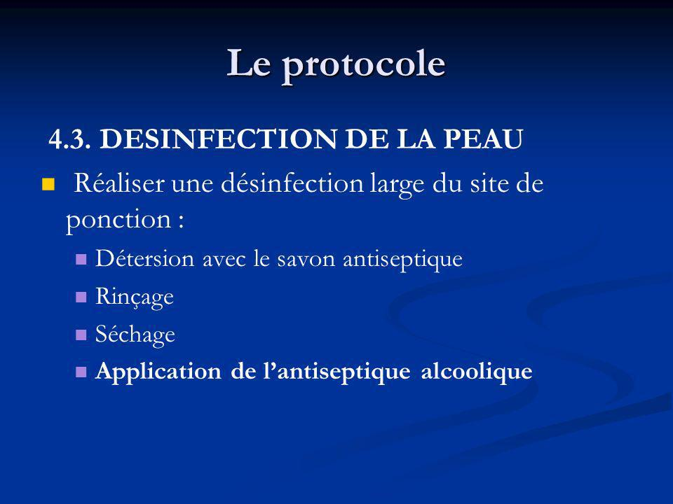 Le protocole 4.3. DESINFECTION DE LA PEAU